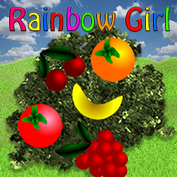 Rainbow Girl Collecting Fruits